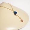 collar plata dorada gema azul