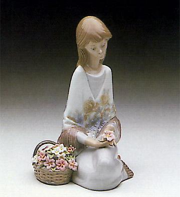 dama con cesta de flores