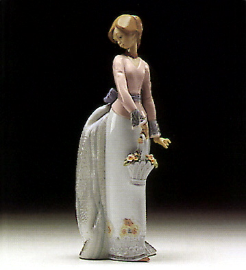 lladro figura de porcelana dama con cesta