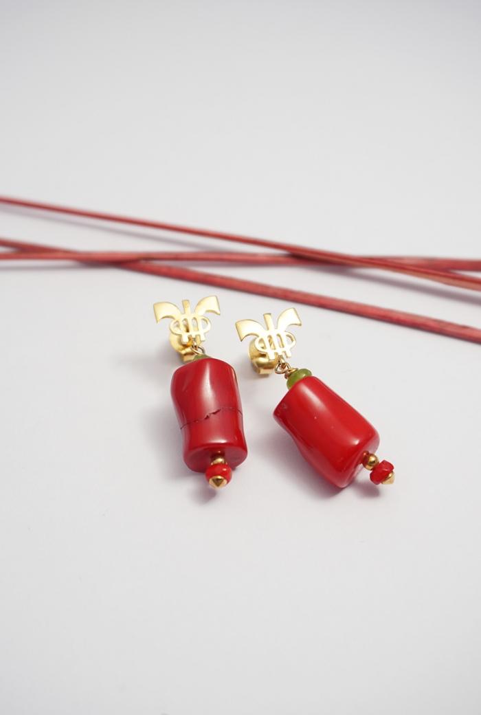 pendientes rojos