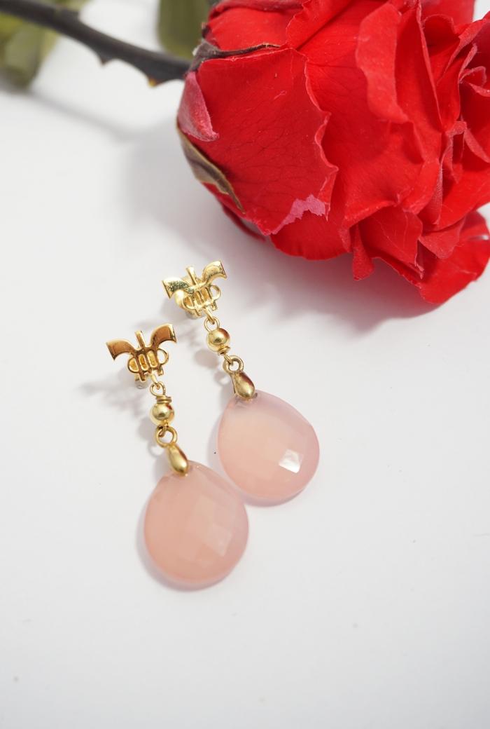 pendientes gemas rosas