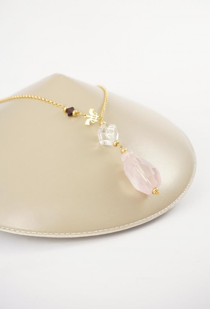 collar plata dorada y piedra rosa