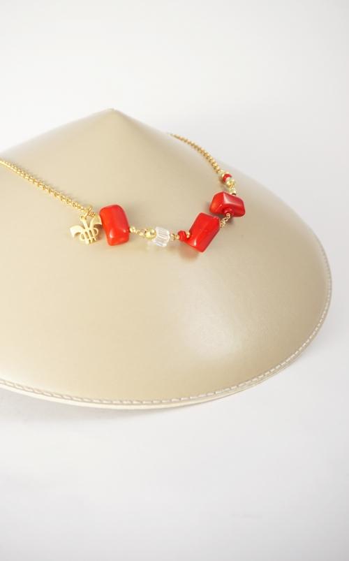 collar plata piedras rojas