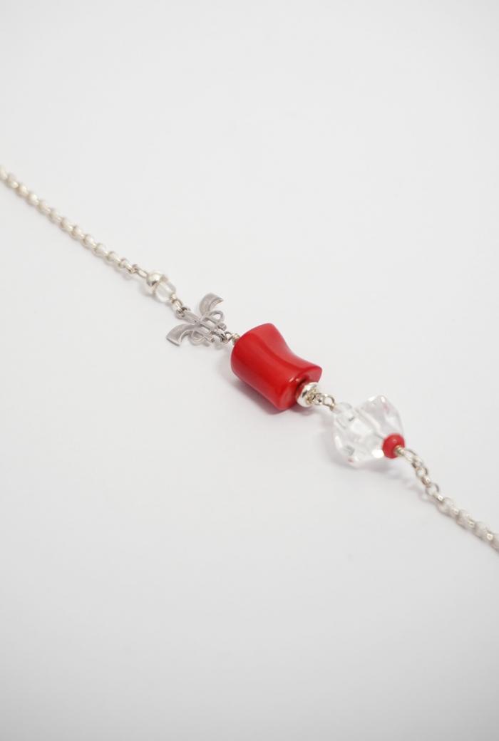 pulsera cadena plata y coral