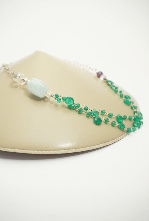 collar corto verde y azul