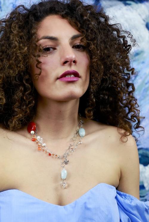 collar de plata con piedras azul aguamarina y cornalinas color teja