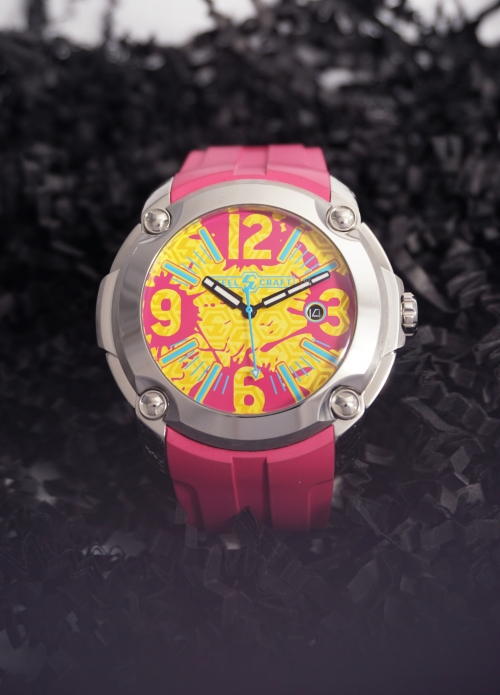 reloj grande correa rosa
