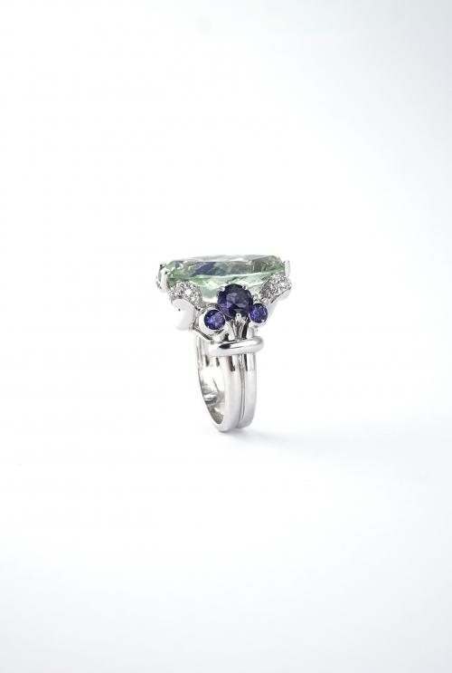 anillo prasiolita verde