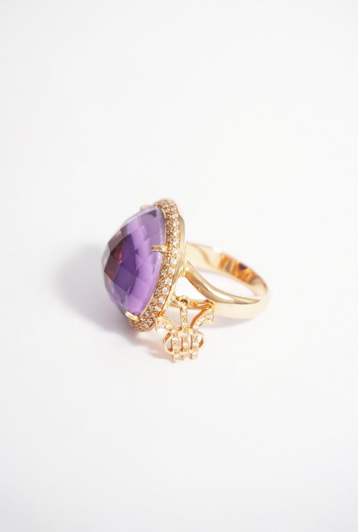 anillo tressor oro amatista