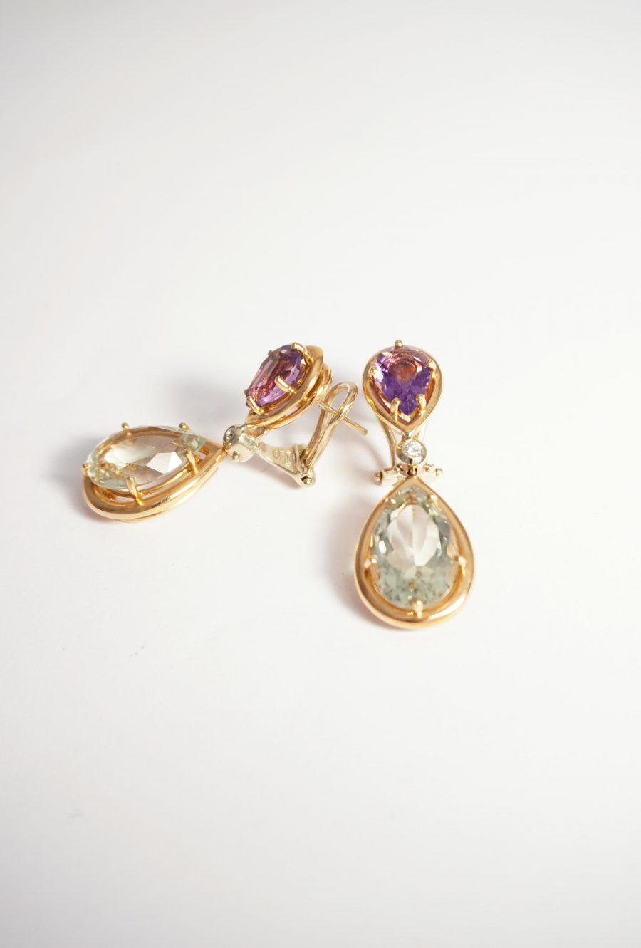prasiolitas verdes amatistas oro y diamantes