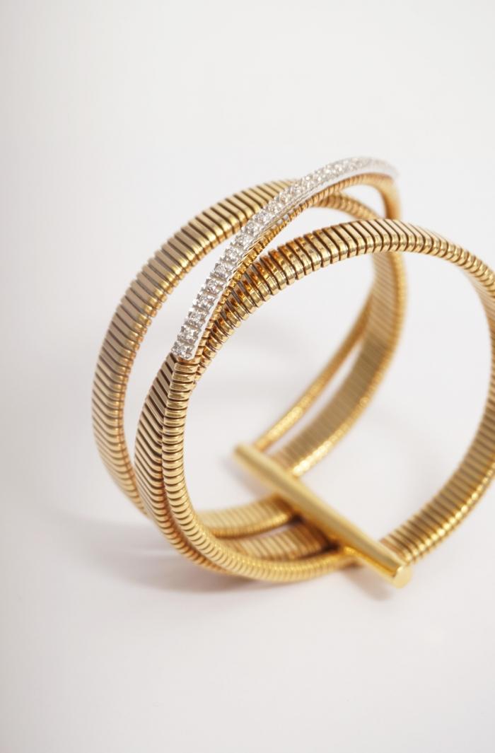 brazalete pulsera oro y brillantes