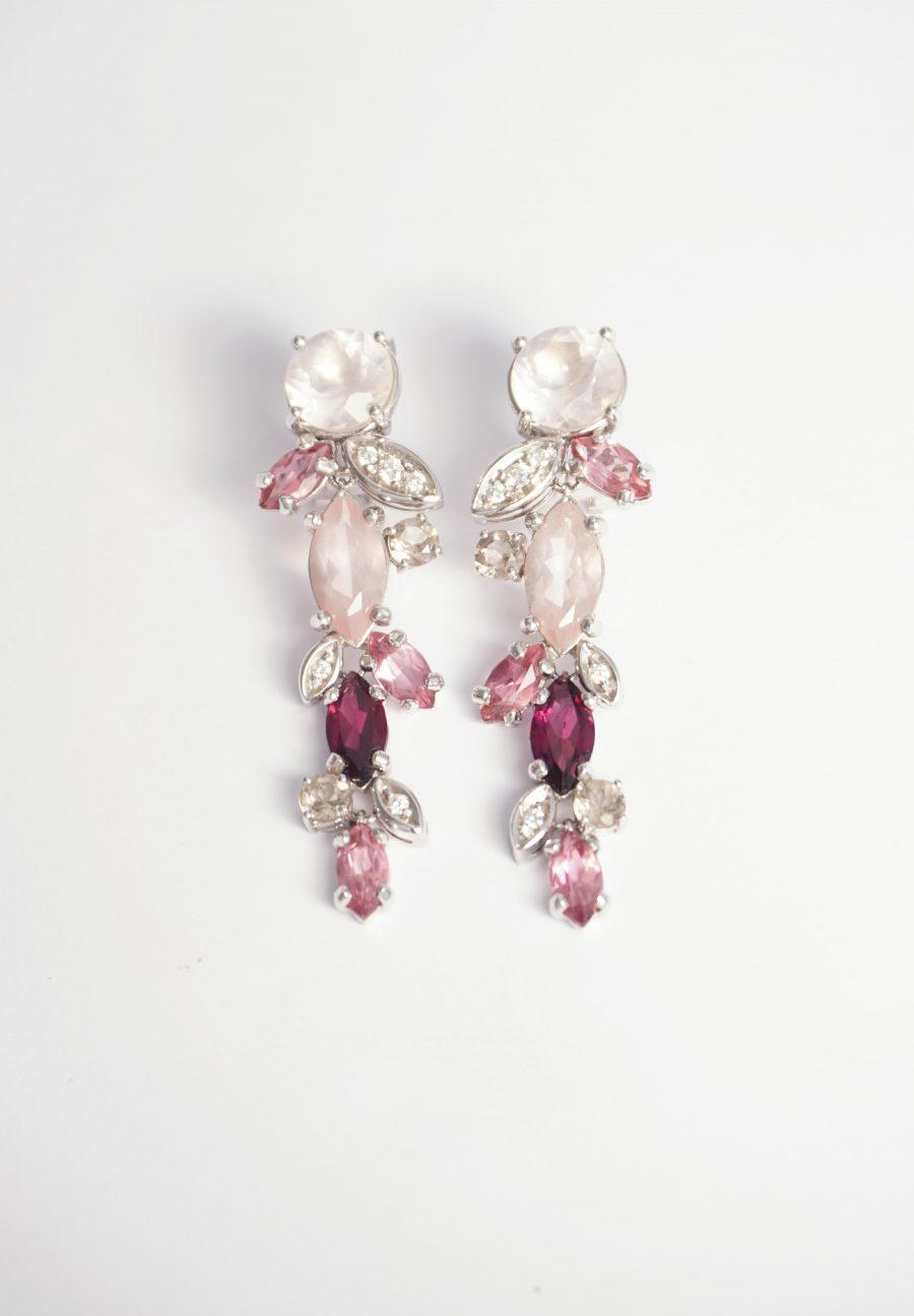 novia pendientes cuarzo rosa y turmalinas oro