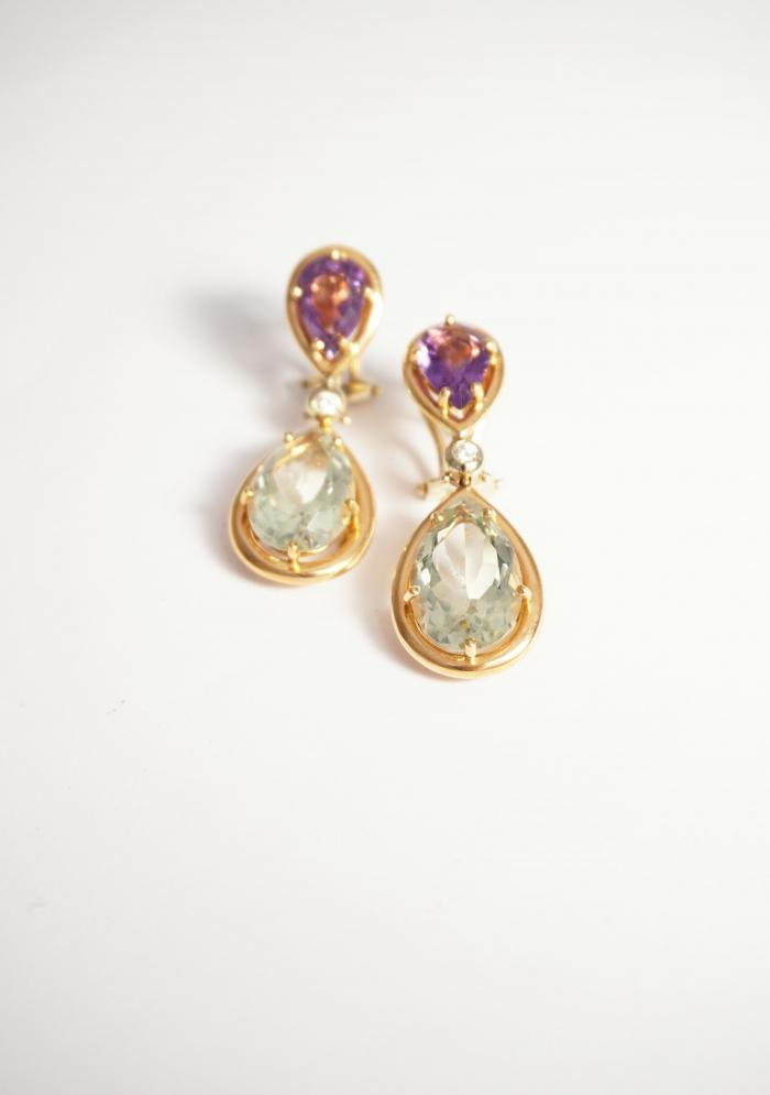 prasiolitas amatistas diamantes oro