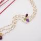 pulsera perlas y gemas de color