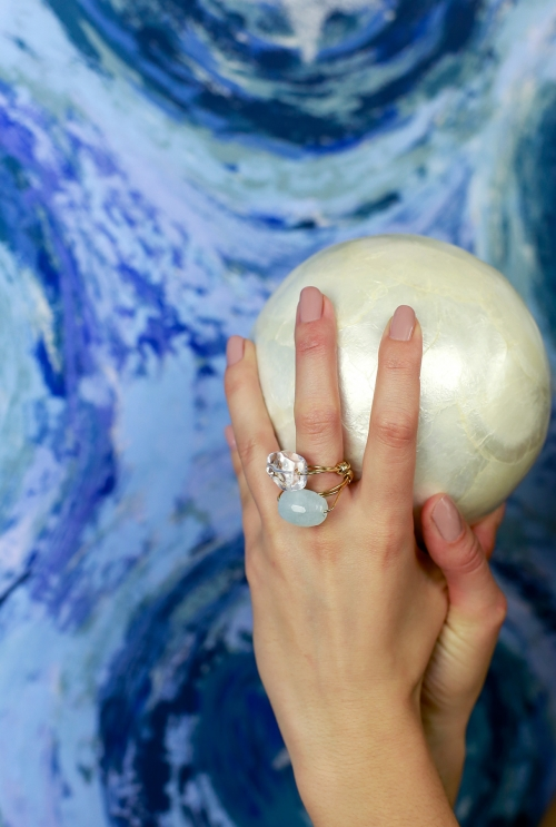 anillo aguamarina piedra azul y plata dorada