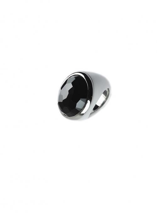 anillo porcelana blanco y piedra negra