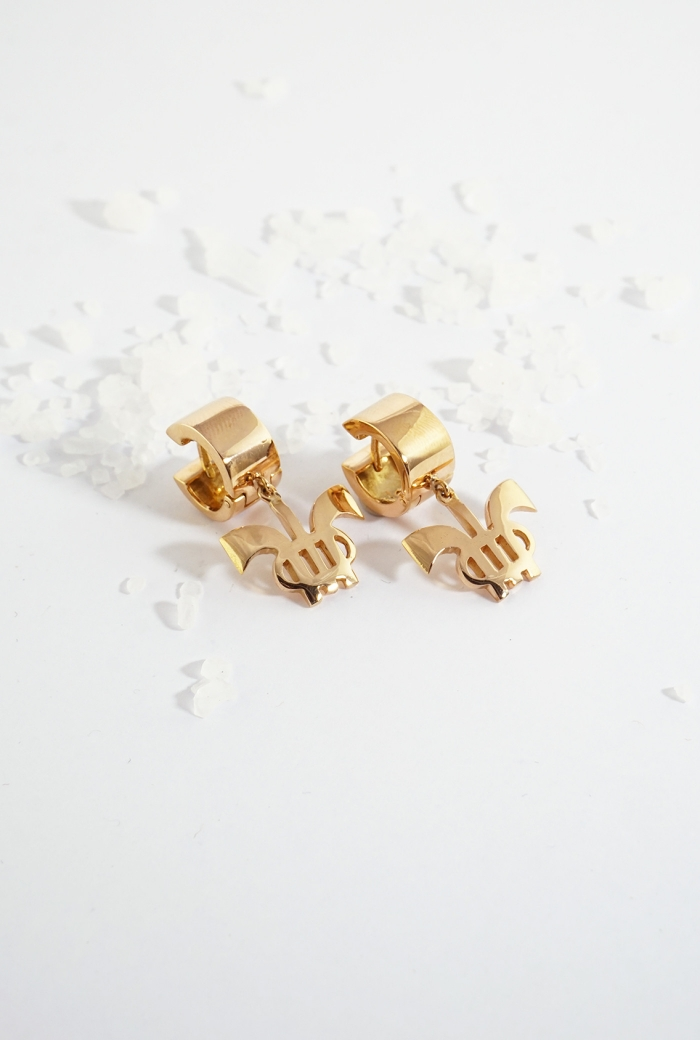 Joyas Tressor de oro rosa con logo Tressor en aretes