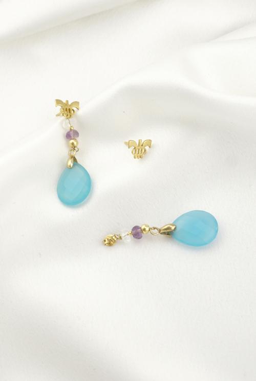 Pendientes calcedonias azules con baño de oro