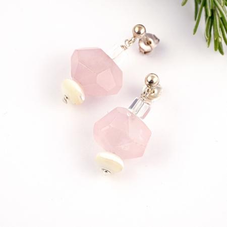 Pendientes cuarzos rosas