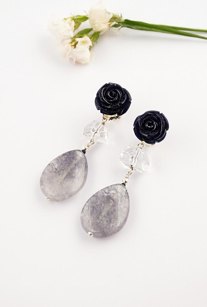 pendientes flores negras