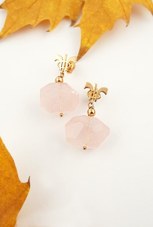 pendientes cuarzos rosas irregulares