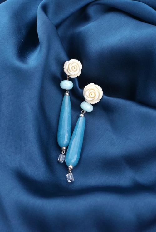 Pendientes flor aventurinas azules