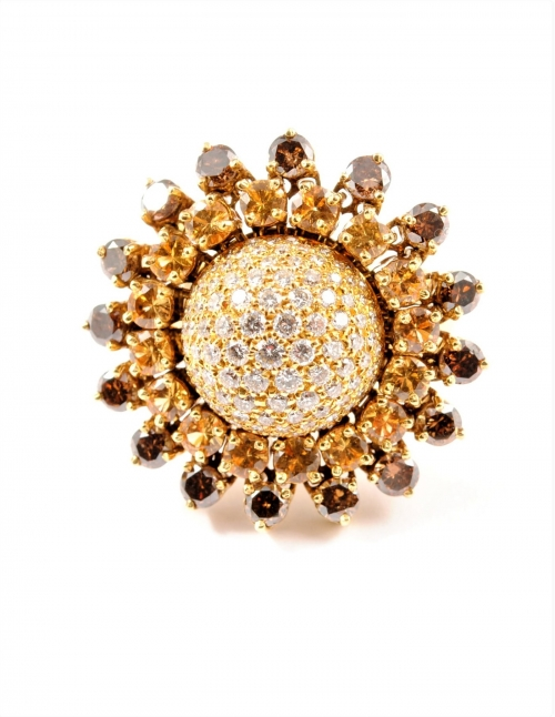 anillo girasol oro