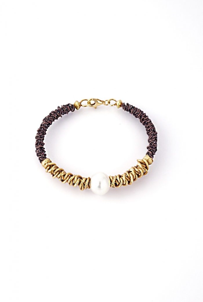 Brazalete perla y oro