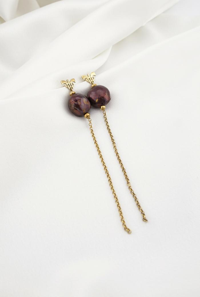 Pendientes perlas chocolate
