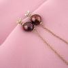 pendientes perlas chocolate plata baño oro