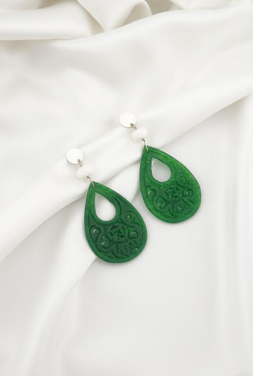 Pendientes flamenca aventurinas verdes