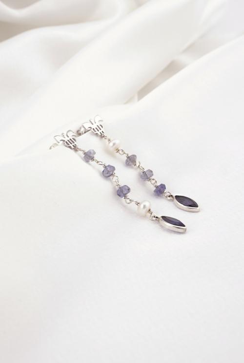 Pendientes iolitas perlas largos