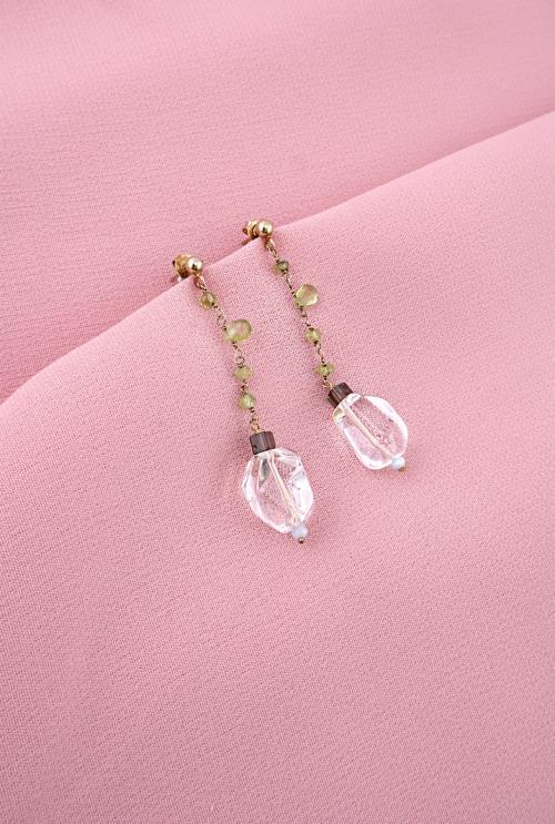 pendientes plata cuarzos peridotos tressor joyas