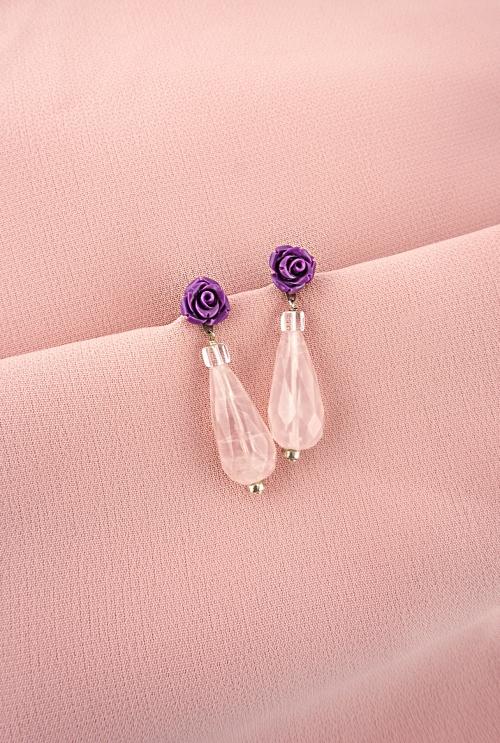 pendientes plata joyas joyeria cuarzos rosas