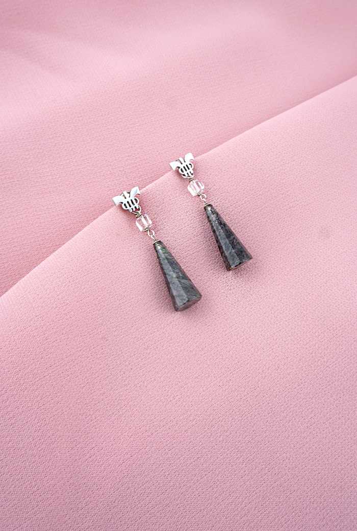 pendientes plata desmontables cuarzos turmalina agujas tressor joyas