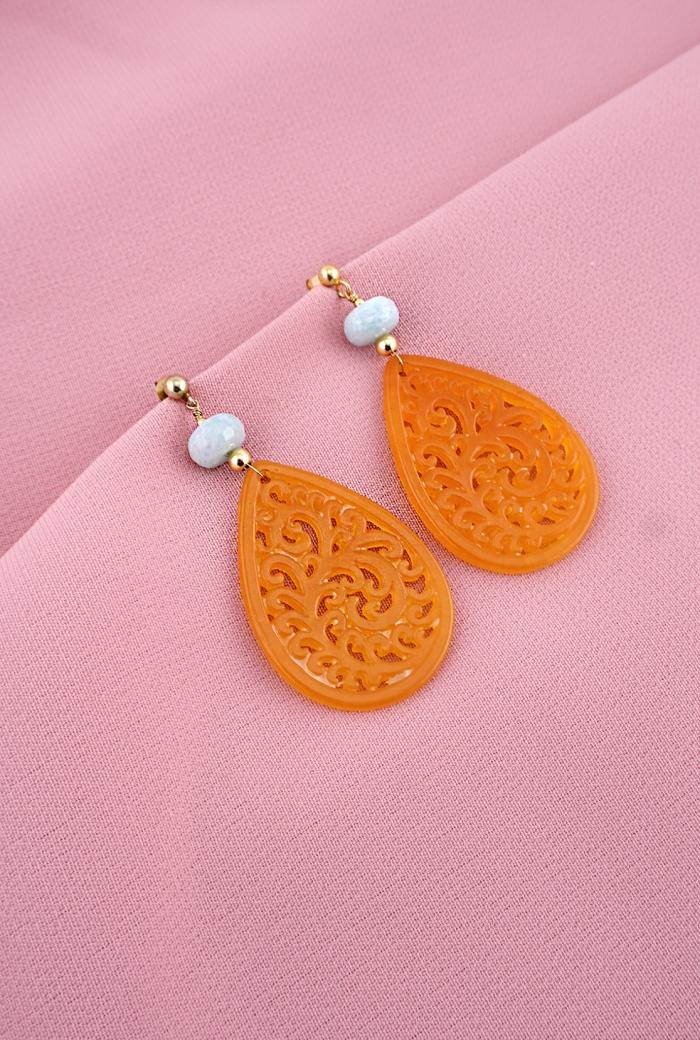 pendientes flamenca naranja
