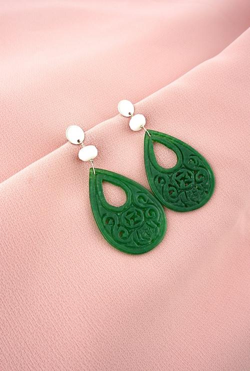 pendientes flamenca aventurinas verdes calcitas tressor joyas