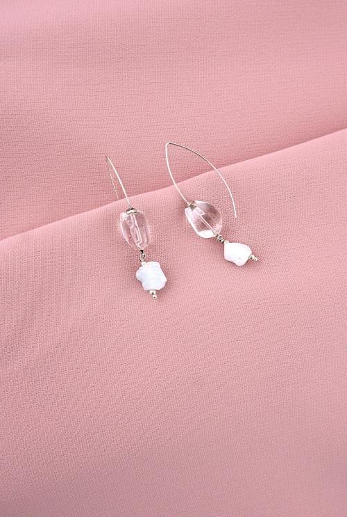 pendientes gancho plata cuarzos tressor joyas