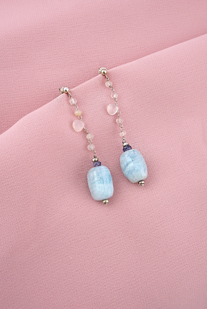 pendientes plata calcedonias rosas aguamarinas tressor joyas