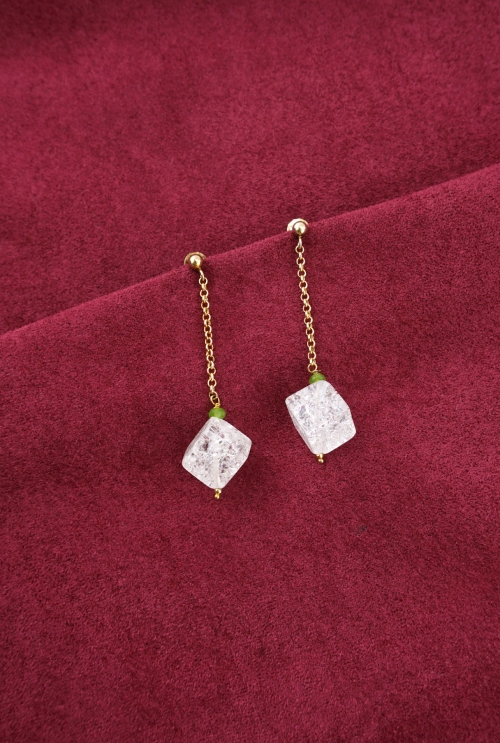 pendientes plata baño oro cuarzos craquelados tressor joyas