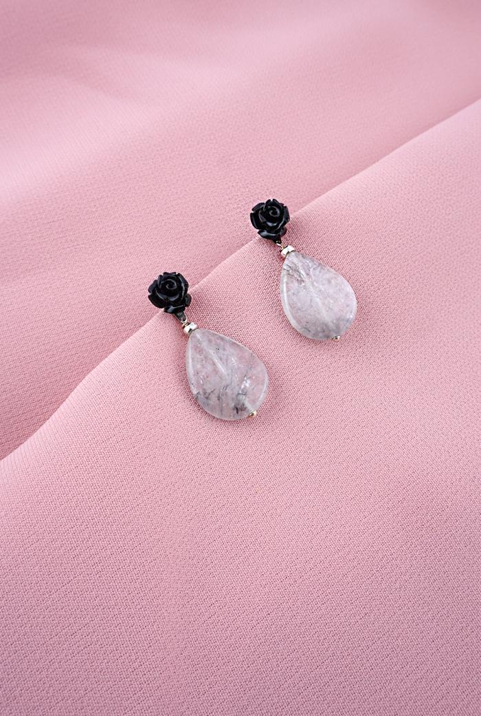 pendientes cuarzo gris desmontable tressor joyas