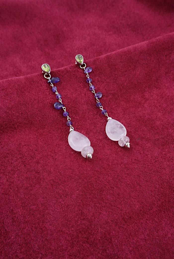 pendientes cuarzos amatistas peridotos plata