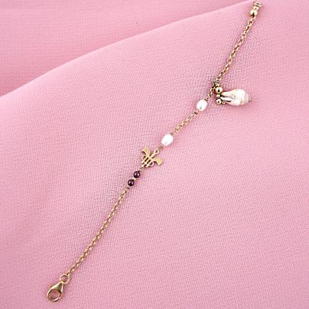 Pulsera caracola granates perlas