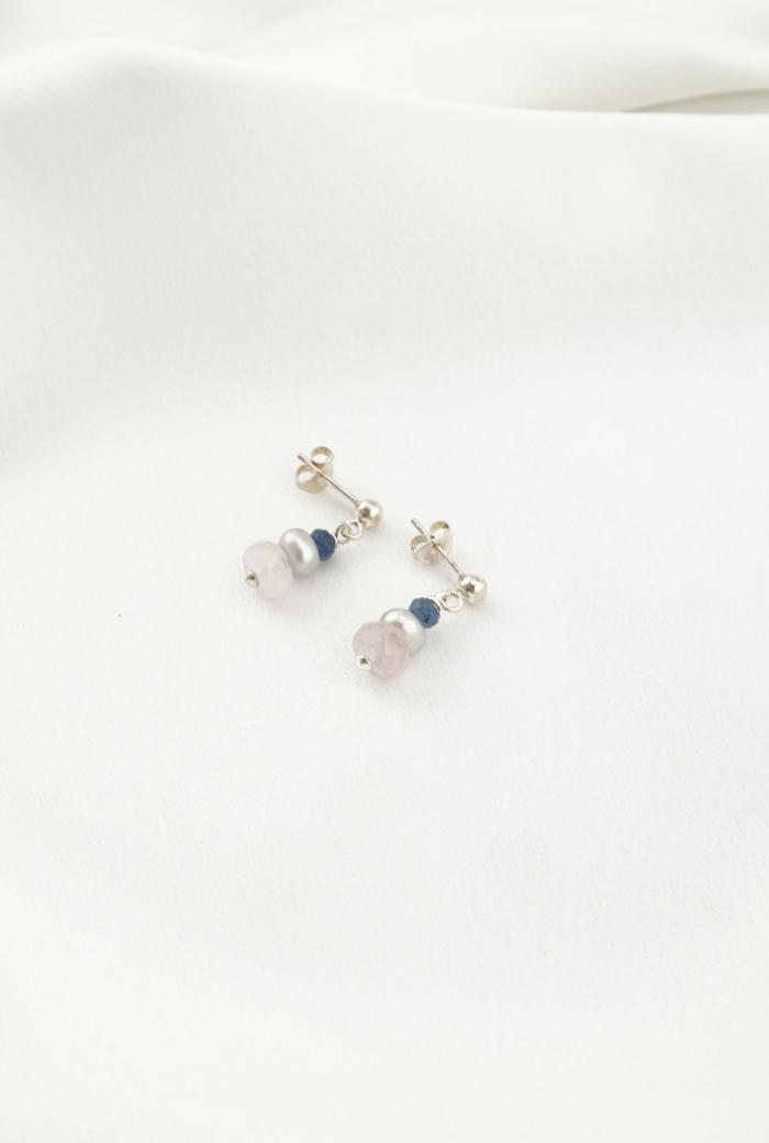 Pendientes mini perlas cuarzos